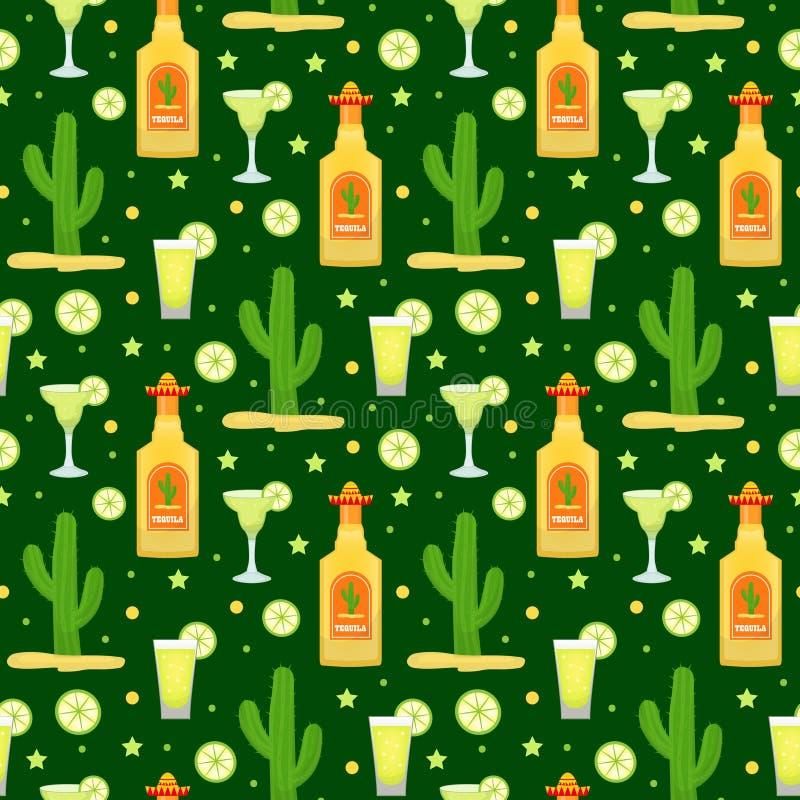 Cinco de Mayo sömlös modell med tequila och kaktuns Ändlös bakgrund för mexicansk ferie, textur också vektor för coreldrawillustr vektor illustrationer