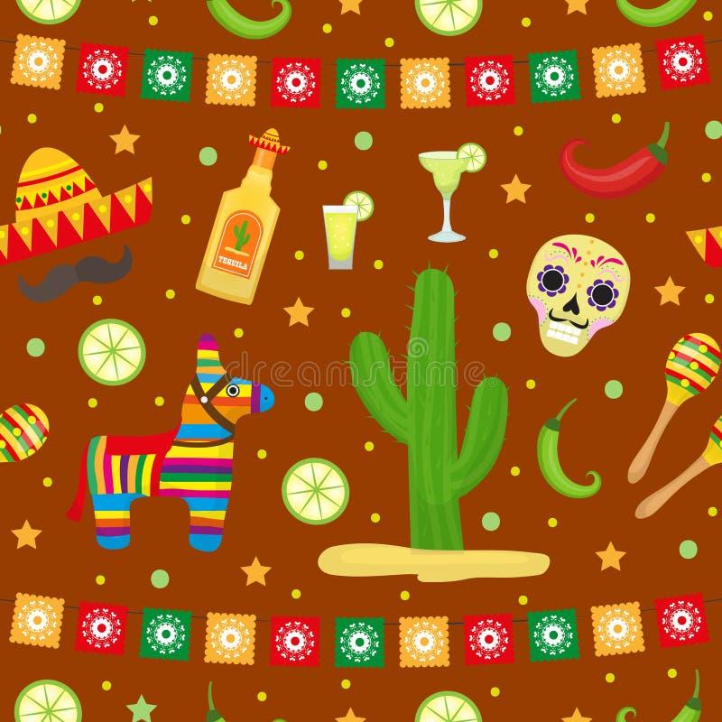 Cinco de Mayo Seamless Pattern Ändlös bakgrund för mexicansk ferie, textur också vektor för coreldrawillustration vektor illustrationer