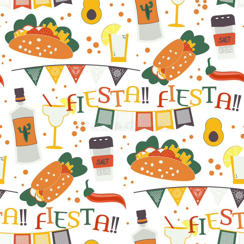 Cinco De Mayo Seamless Pattern With Traditional Mexican ...