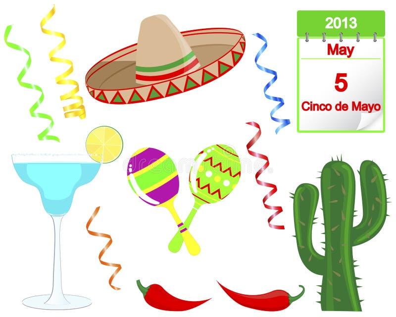 Cinco De Mayo. Set wakacyjni elementy. royalty ilustracja