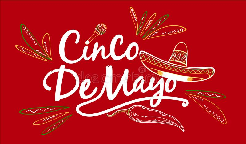 Cinco De Mayo Sign royaltyfri illustrationer