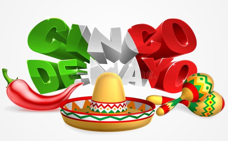 Cinco De Mayo Sign Sombrero Maracas och peppar stock illustrationer