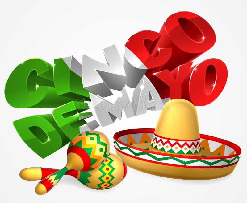 Cinco De Mayo Sign With Sombrero och Maracas vektor illustrationer