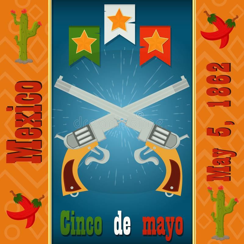 Design, postcards, background, stickers, for decoration of the Mexican holiday Cinco de mayo in_4_flat style vector illustration