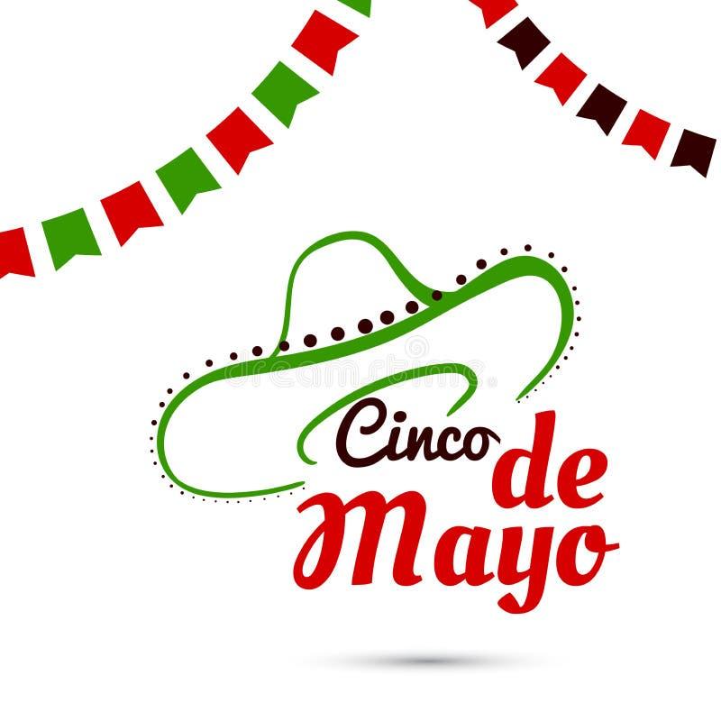 Cinco De Mayo With Sombrero stock illustrationer