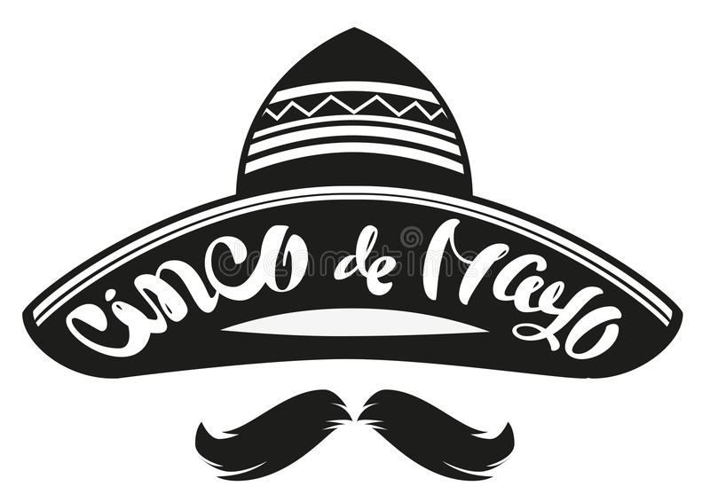 Cinco De Mayo Sombrero brimmed ancho mexicano del sombrero Jefe de texto de las letras para la tarjeta de felicitación ilustración del vector