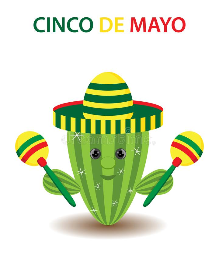 Cinco De Mayo-sombrero, cactus en maracas feestelijk ontwerp Voor c stock illustratie