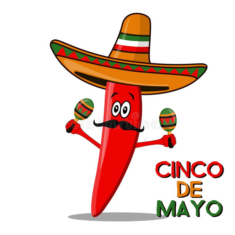 Free Cinco De Mayo Sombrero, Chili Pepper, Cactus And Maracas Festive Design. For Celebration Of The Mexican Holiday On May 5 Stock Photo - 111403000