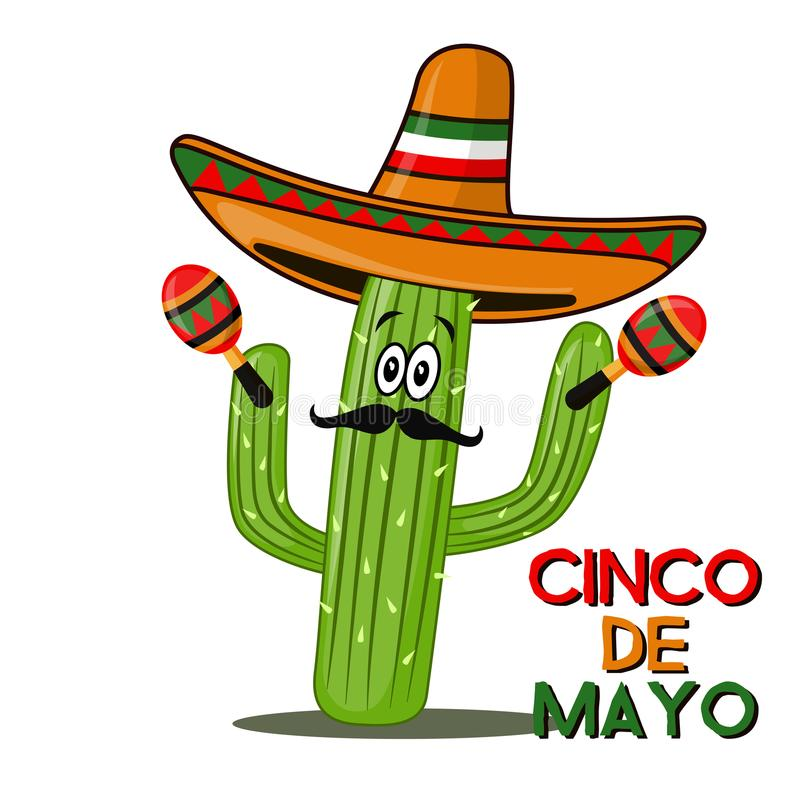 Cinco De Mayo sombrero, chili pepper, cactus and maracas festive design. For celebration of the Mexican holiday on May 5 royalty free illustration