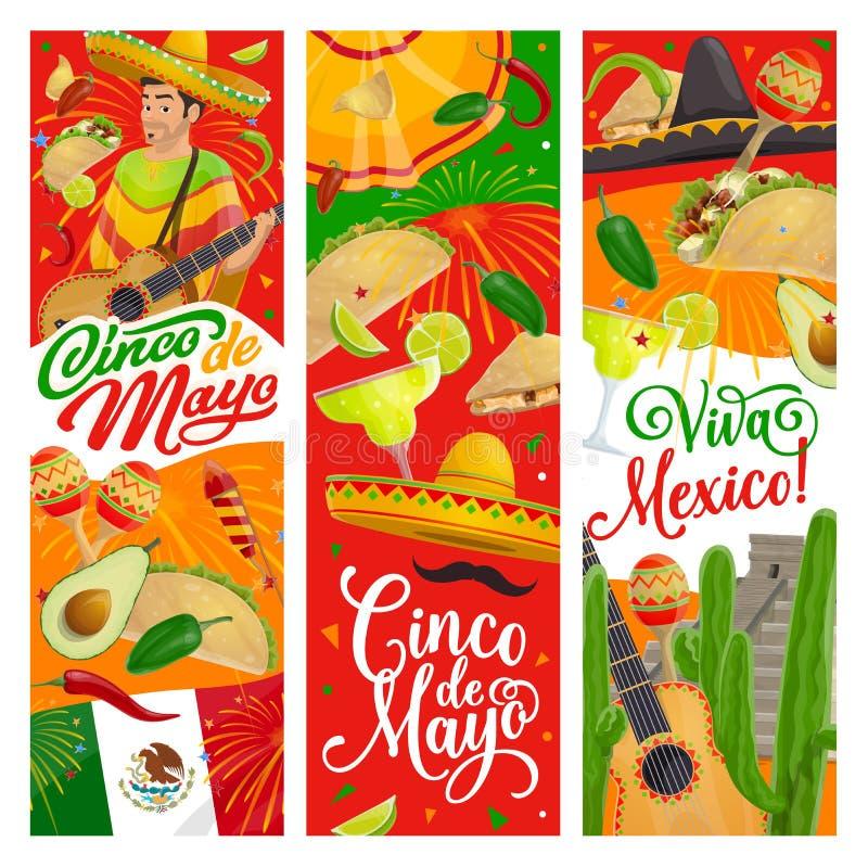 Cinco de Mayo-sombrero, gitaar, Mexicaans partijvoedsel vector illustratie