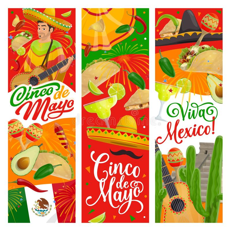 Cinco de Mayo sombrero, guitar, Mexican party food. Cinco de Mayo fiesta guitar, sombrero and mariachi maracas vector design, Mexican holiday party invitations vector illustration