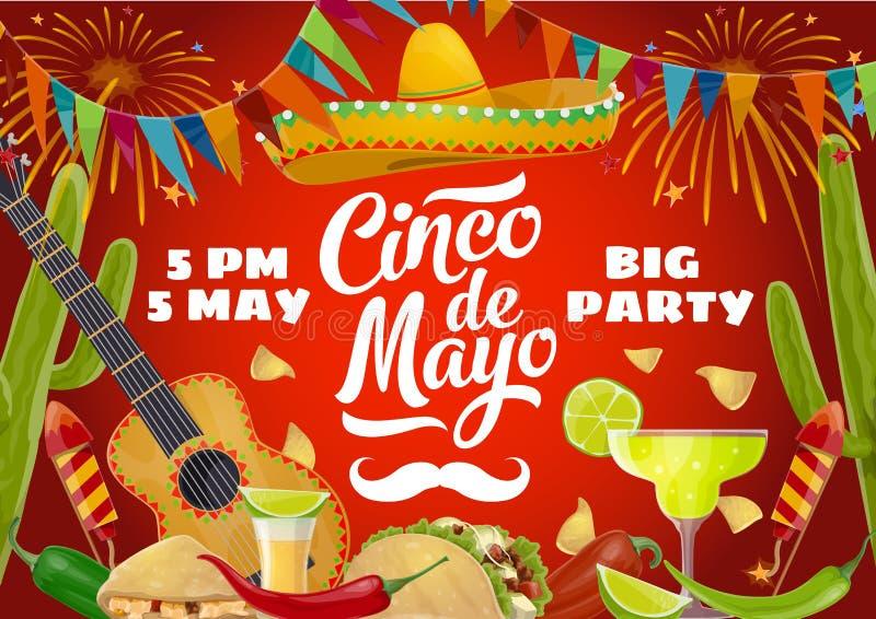 Cinco de Mayo sombrero, guitar, Mexican party food. Cinco de Mayo fiesta party food and drink vector design of Mexican holiday invitation. Sombrero, guitar and royalty free illustration