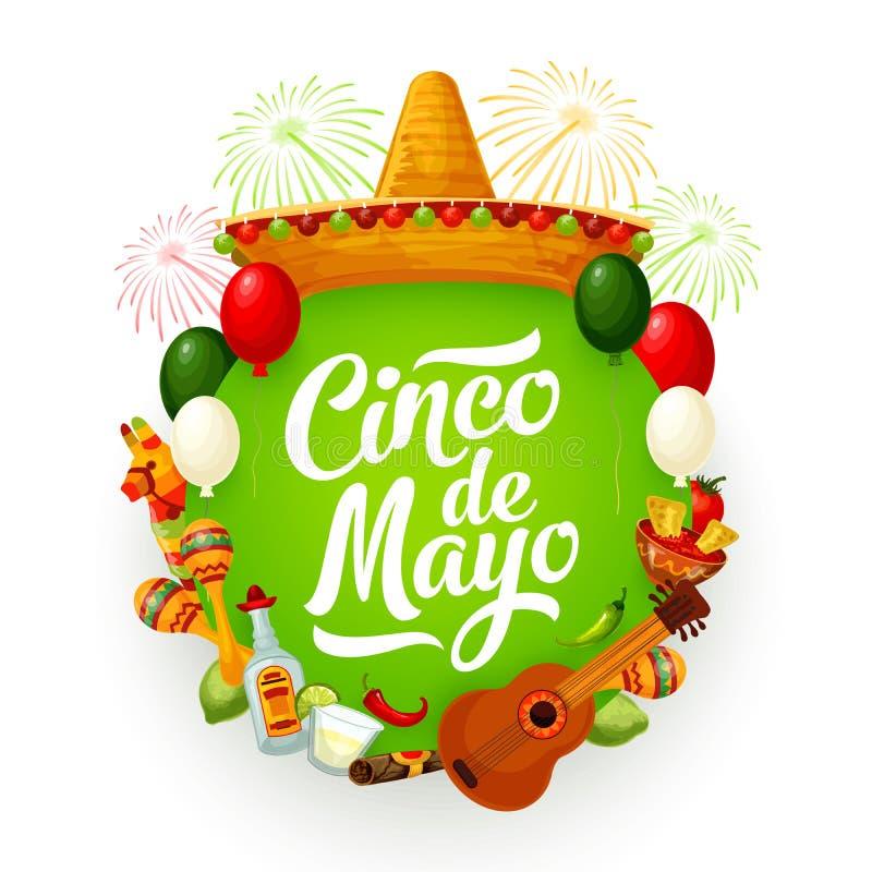 Cinco de Mayo sombrero, Mexican food, guitar. Cinco de Mayo holiday vector greeting card with Mexican fiesta party sombrero, guitar and food. Maracas, pinata and stock illustration