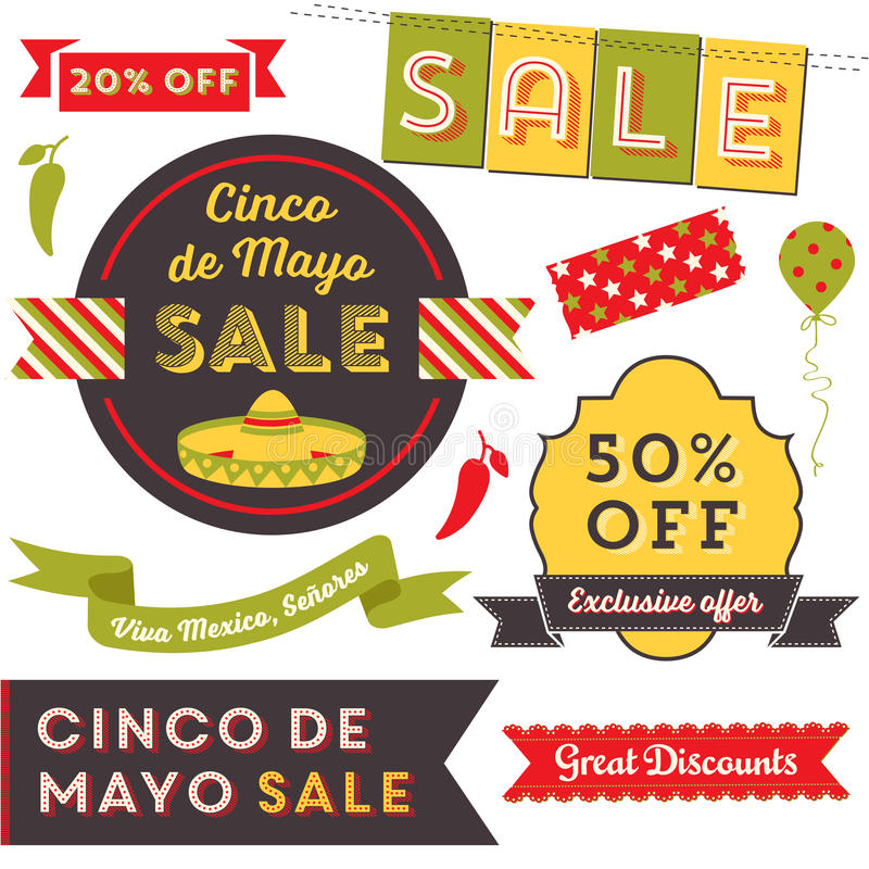 Cinco De Mayo sprzedaży klamerki sztuka ilustracji
