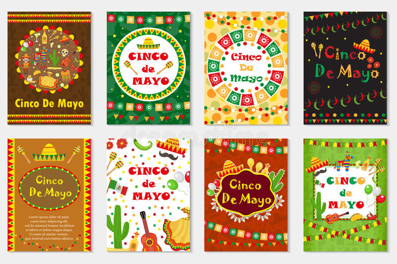 Cinco de Mayo ställde in hälsningkortet, mallen för reklambladet, affischen, inbjudan Mexicansk beröm med traditionella symboler vektor illustrationer