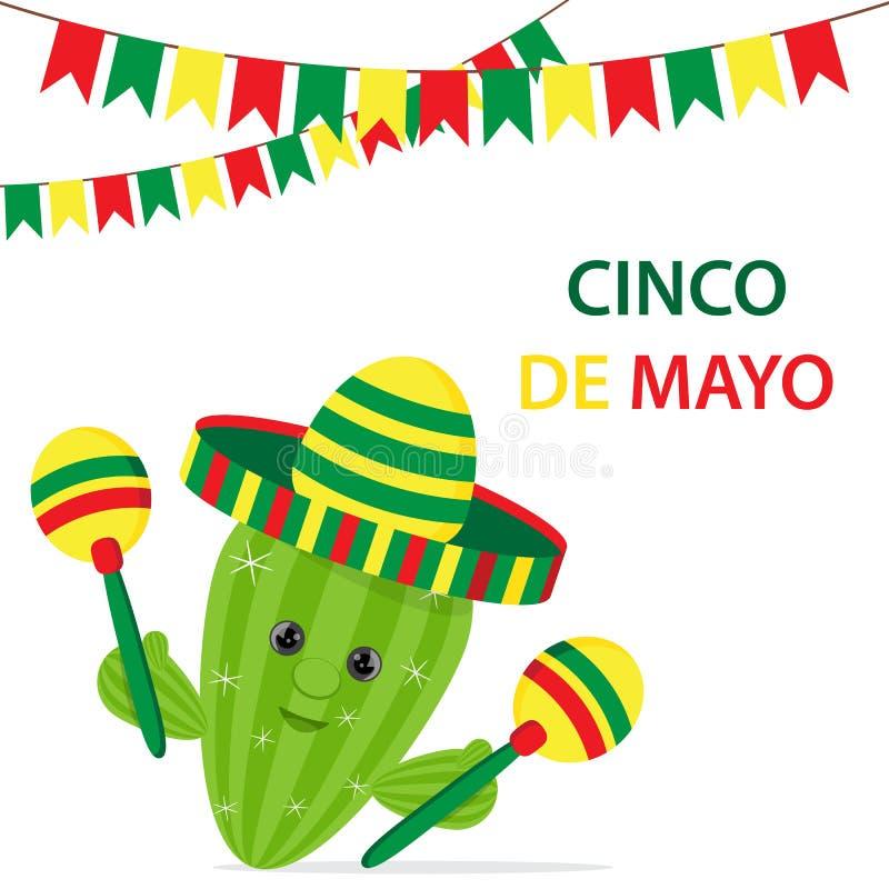 Cinco De Mayo stubarwny sombrero, zielony kaktus i marakasu fe,