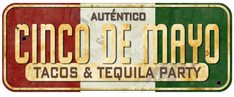 Cinco De Mayo Taco przyjęcia znaka Grunge rocznika zaproszenie obrazy royalty free