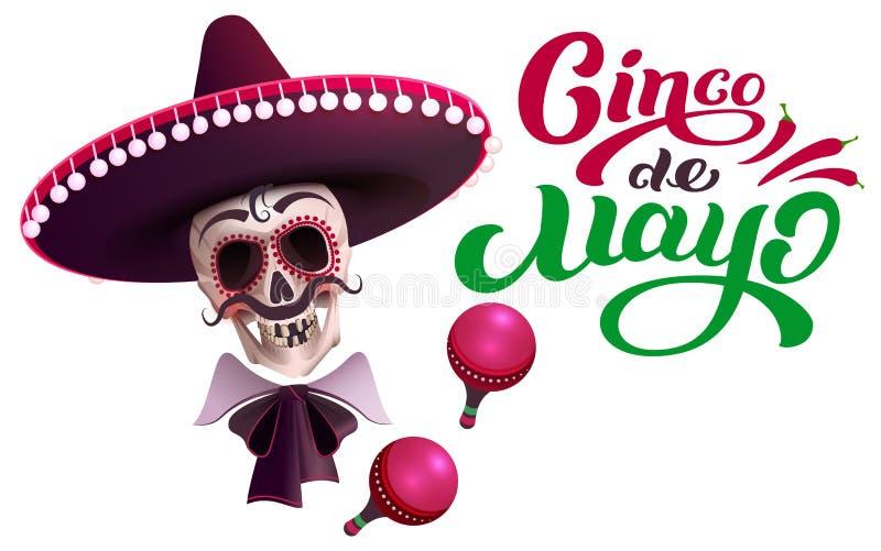Cinco de Mayo teksta kartki z pozdrowieniami szablon Czaszka w sombrero i marakasach ilustracji