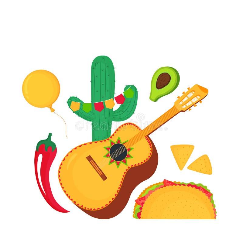 cinco de Mayo 5th Maj Guitarrone, kaktus, chili, taco, nachos, avocado - clipart krajowy meksykański wakacje royalty ilustracja