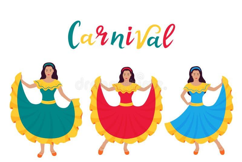 cinco de Mayo 5th Maj Karnawa? Trzy młodej łacińskiej dziewczyny tanczy w tradycyjnych Meksykańskich sukniach royalty ilustracja