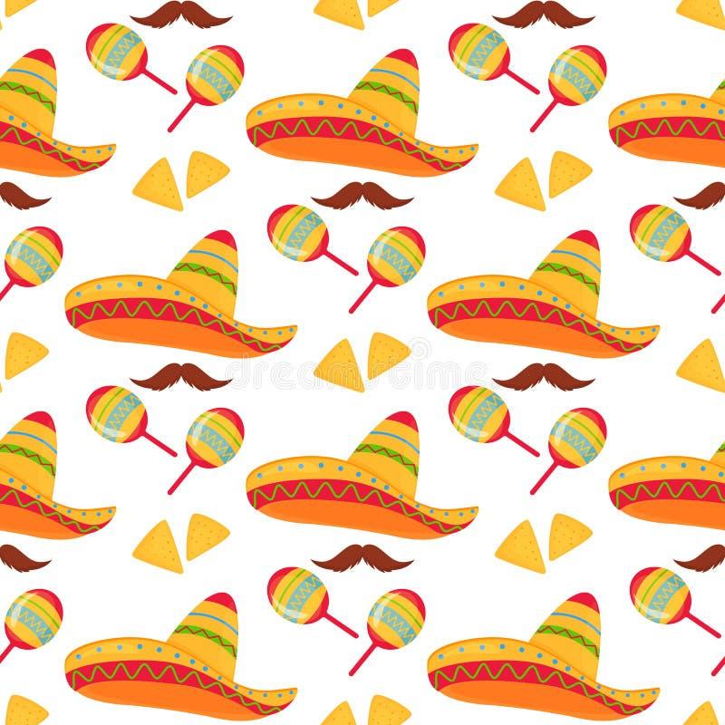 cinco de Mayo 5th Maj Meksykański sombrero, nachos, wąsy i marakasów bezszwowy wzór, ilustracja wektor