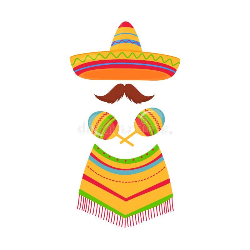 cinco de Mayo 5th Maj Meksykański sombrero, poncho, wąsy i marakasy, royalty ilustracja