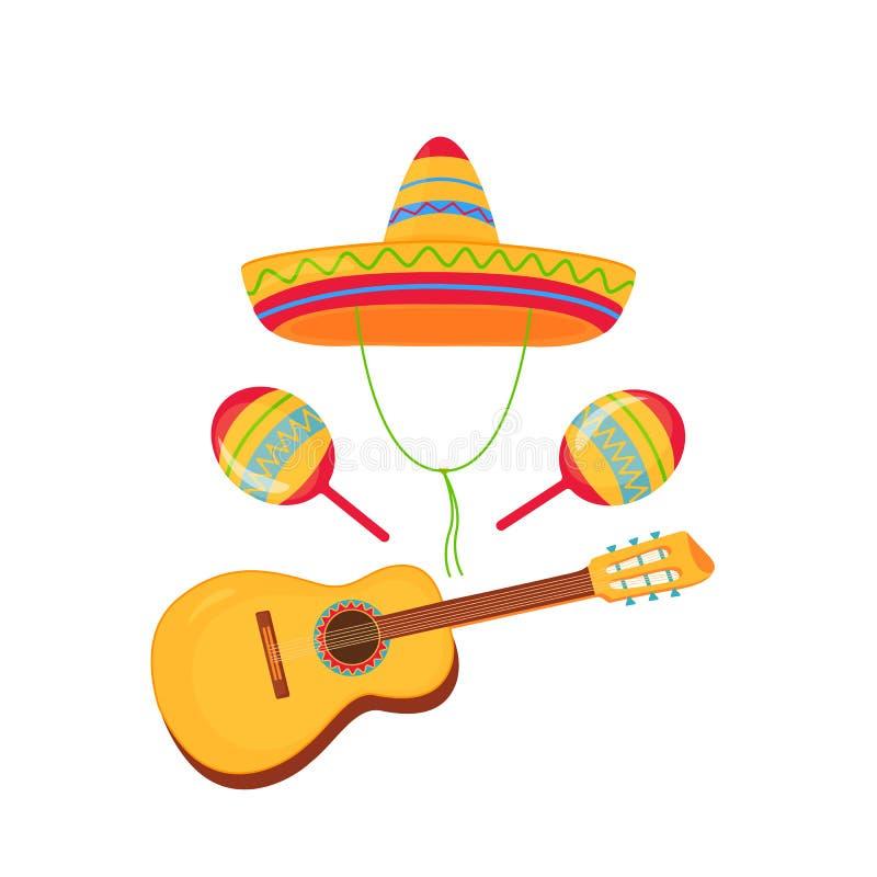 cinco de Mayo 5th Maj Sombrero, marakasy i gitara, Meksykanin być wypełnionym czymś słomiany kapelusz royalty ilustracja