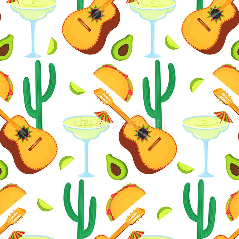 Cinco de Mayo. 5th of May. Guitarrone, cactus, taco, avocado, margarita - clipart to national mexican holiday seamless royalty free illustration