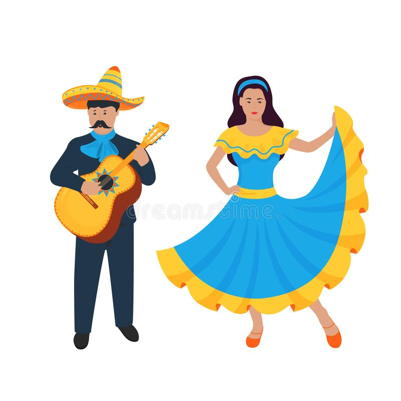 Cinco de Mayo. 5th of May. Mexican musician sing and play on Guitarron. Guitarist. Girl dancing in traditional dress.  vector illustration
