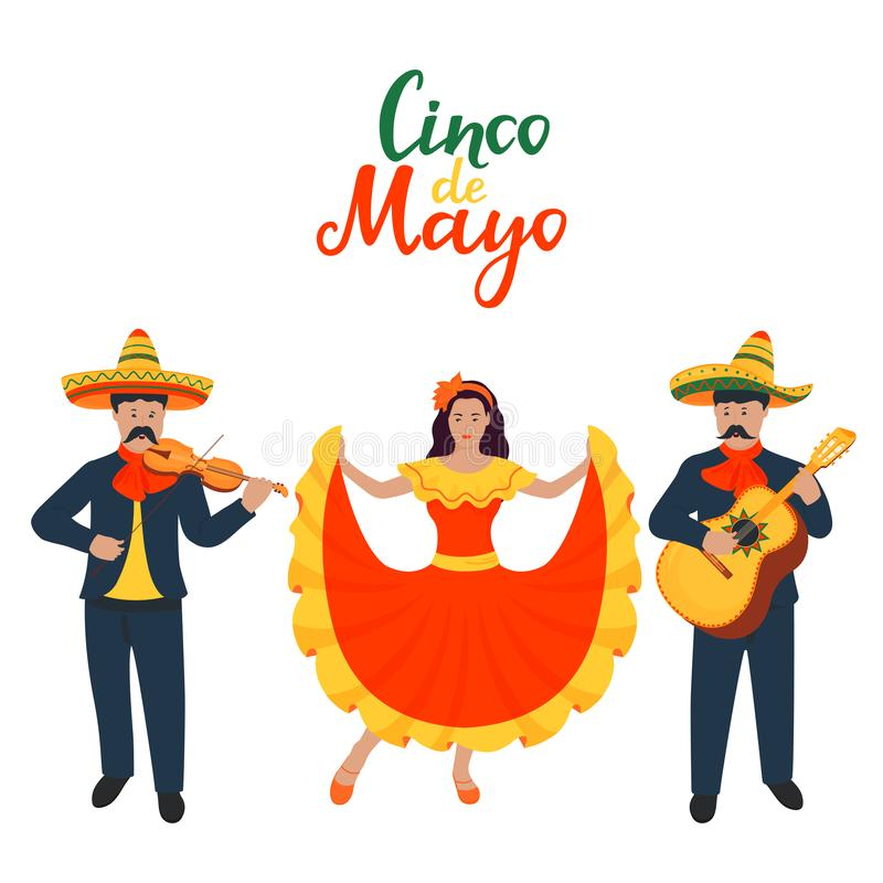 Cinco de Mayo. 5th of May. Mexican musicians sing and play musical instruments. Guitarist and violinist. Girl dancing in. Traditional dress stock illustration