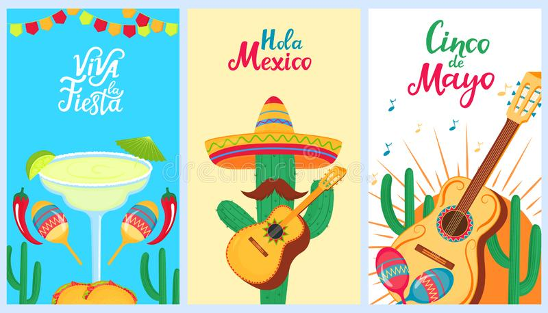 Cinco de Mayo. 5th of May. A set of holiday posters to the Mexican national holiday. Sombrero, cactus, guitar, maracas, stock illustration