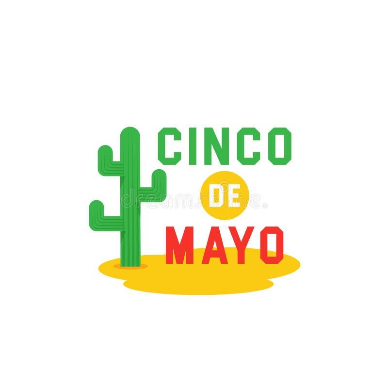 Cinco de Mayo - 5th- de vector van de de typografiebanner van Mei Het ontwerp van Mexico voor fiestakaarten of partijuitnodiging  stock illustratie