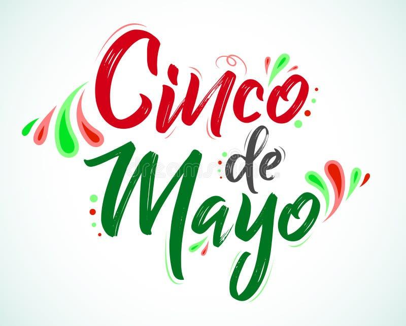 Cinco de Mayo, Tradycyjny Meksyka?ski wakacje, pisze list wektorow? ilustracj? ilustracja wektor