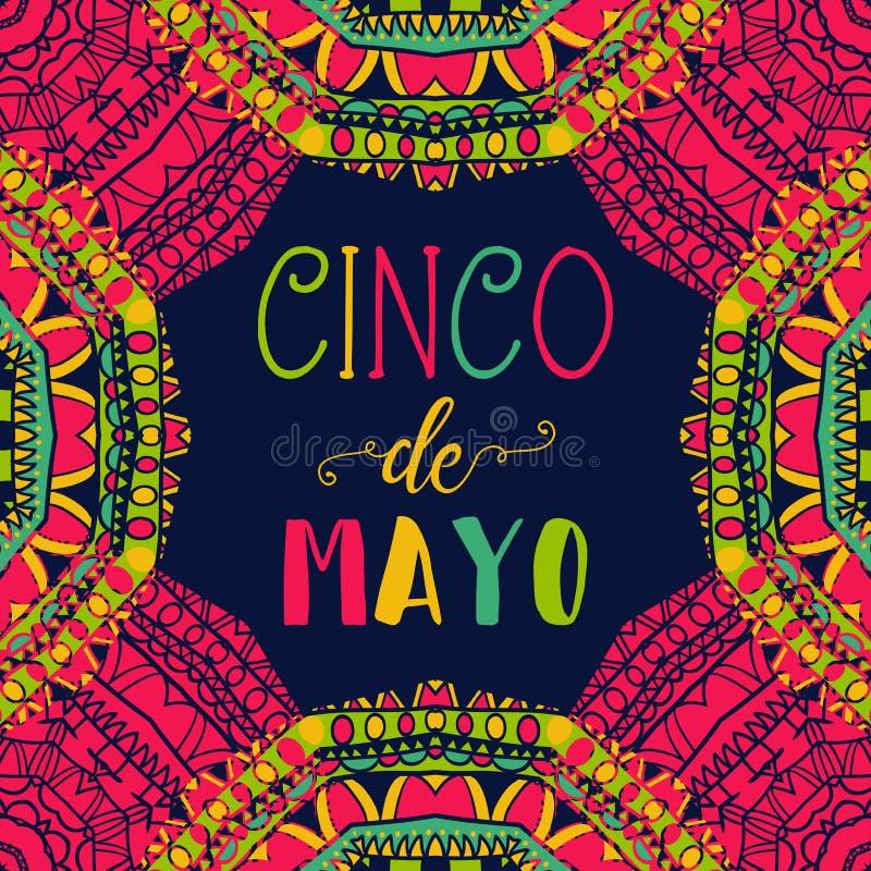 cinco de mayo Typografiaffisch med den etniska prydnaden stock illustrationer