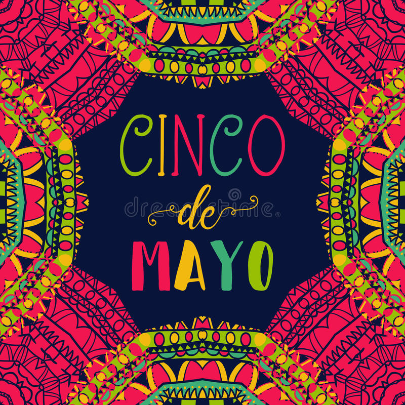 Cinco DE Mayo Typografieaffiche met etnisch ornament stock illustratie