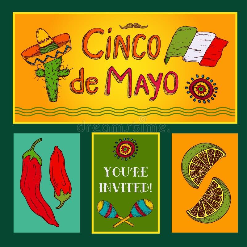 Cinco de Mayo uppsättning stock illustrationer