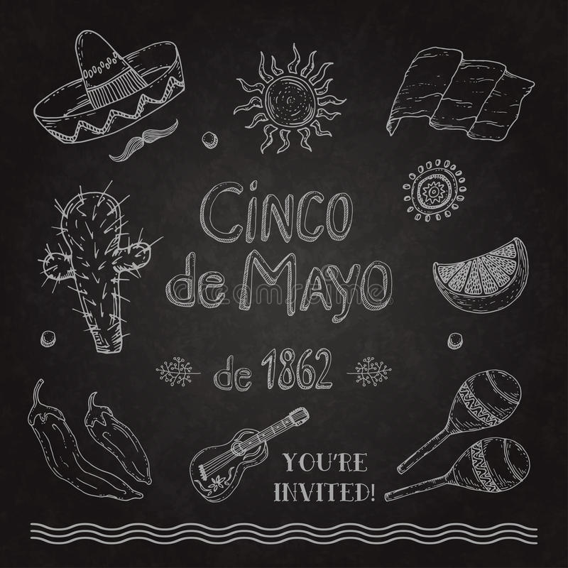 Cinco de Mayo ustawiający na blackboard ilustracja wektor