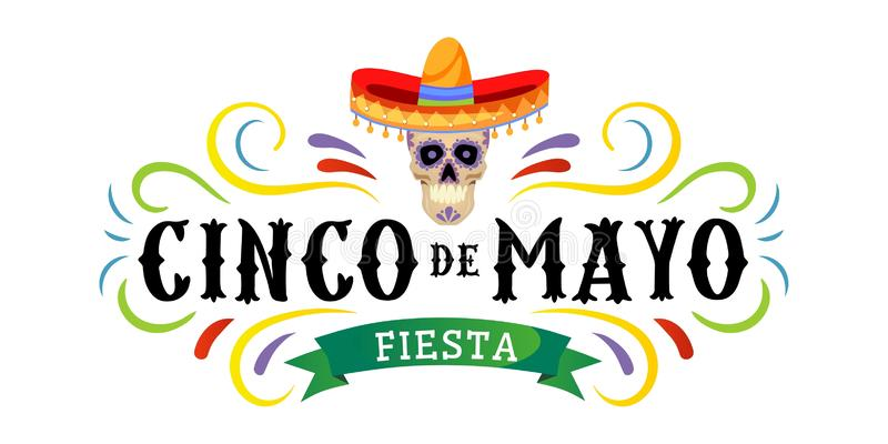 Cinco de mayo vector greeting card with scull, traditional mexican hat and flourish elements. 5 may mexican holiday colorful stock illustration