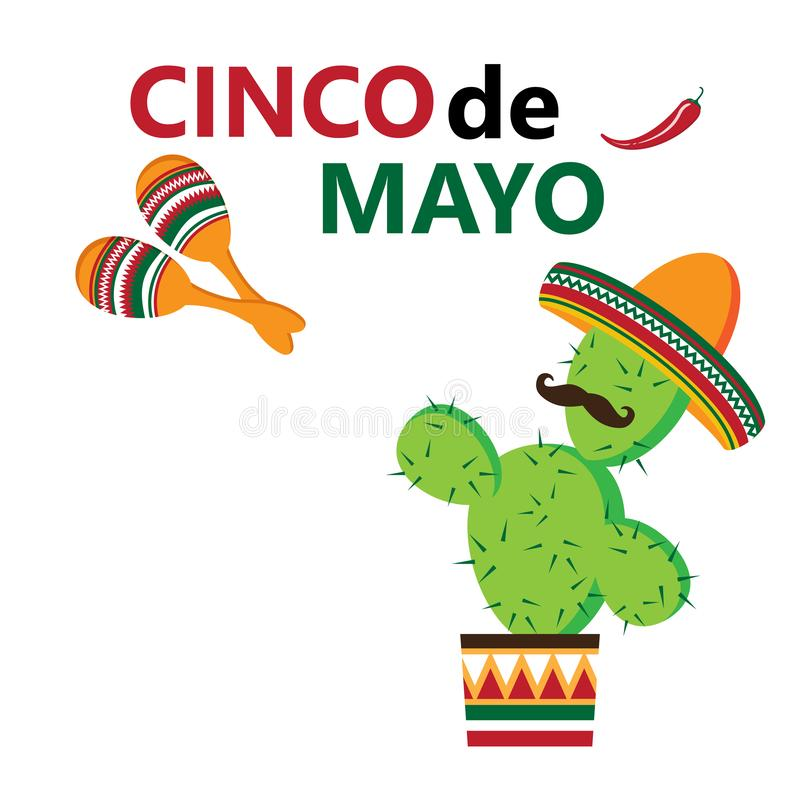 Cinco de Mayo, vectorillustratie stock illustratie