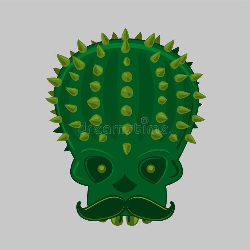 Cinco de mayo vektorbild mit skull und cactus Traditionelles Festivalposter für den Karneval Einsame mexikanische Party stock abbildung