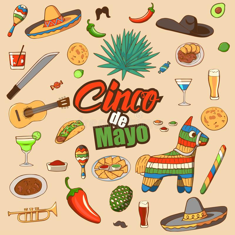 Cinco de Mayo-viering in Mexico, stock illustratie
