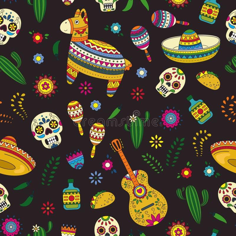 Cinco de Mayo-viering in Mexico De inzamelingsvoorwerpen van de beeldverhaalkrabbel voor Cinco de Mayo-parade met pinata, maracas vector illustratie