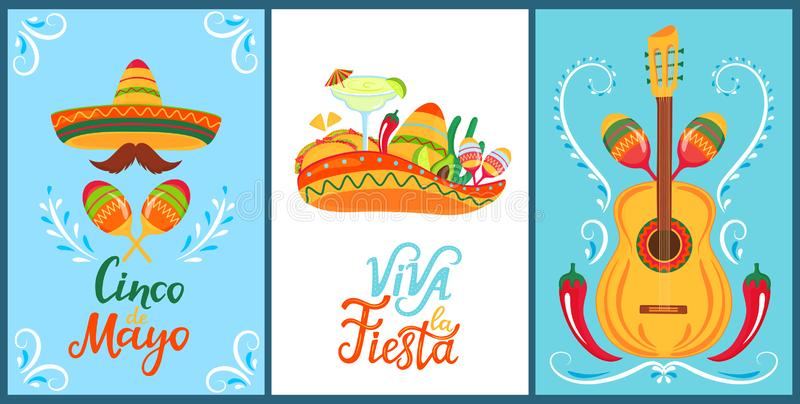 Cinco de Mayo. Viva la Fiesta. Hand drawn lettering. A set of festive posters to the Mexican national holiday. Sombreros,. Mustaches, maracas. Margarita stock illustration