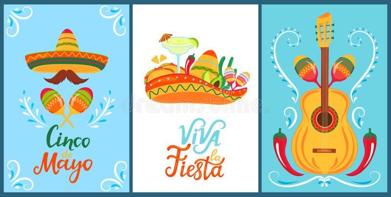 cinco de mayo Viva lafiesta Hand dragen bokst?ver En upps?ttning av festliga affischer till den mexicanska nationella ferien Somb stock illustrationer