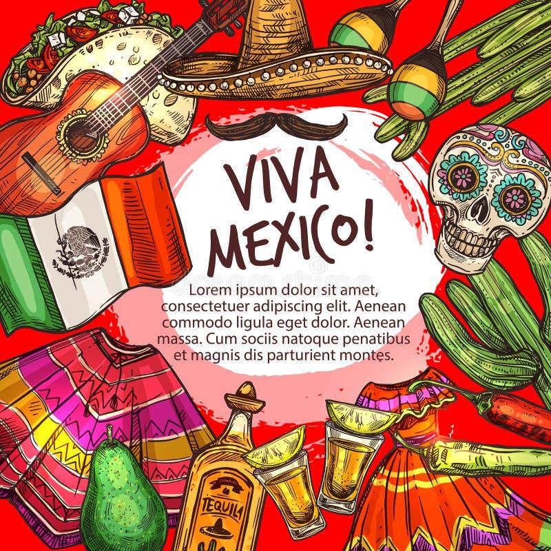 Cinco de Mayo, viva Meksyk rama, krajowe ikony royalty ilustracja
