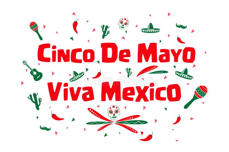 Cinco de Mayo, Viva Mexico vector illustratie