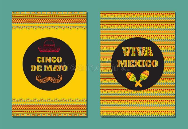 Cinco De Mayo Viva Mexico! Grupo do vetor de cartões, de bandeiras ou de cartazes com o ornamento geométrico mexicano ilustração royalty free
