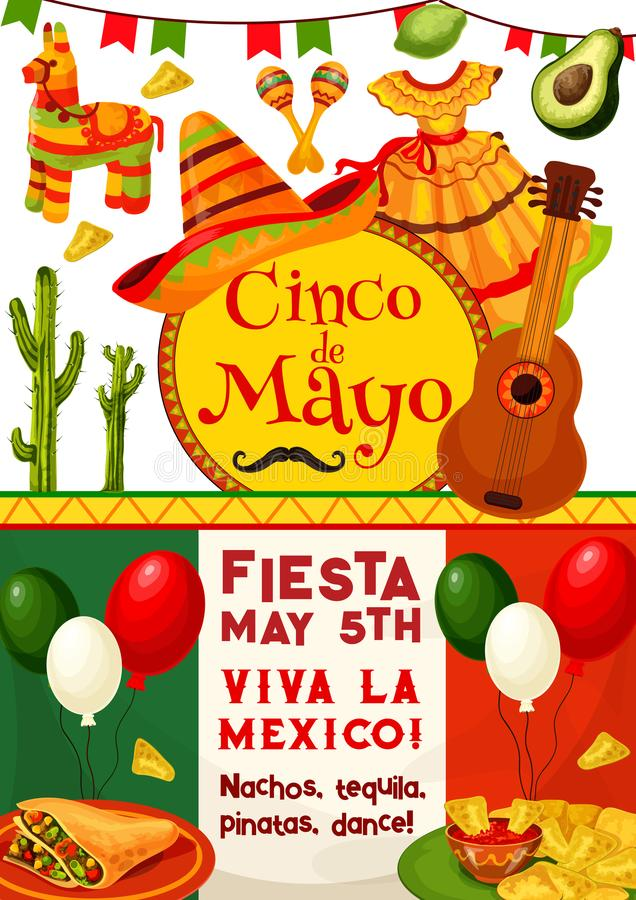 Cinco de Mayo, Viva Mexico-de uitnodiging van de fiestapartij vector illustratie