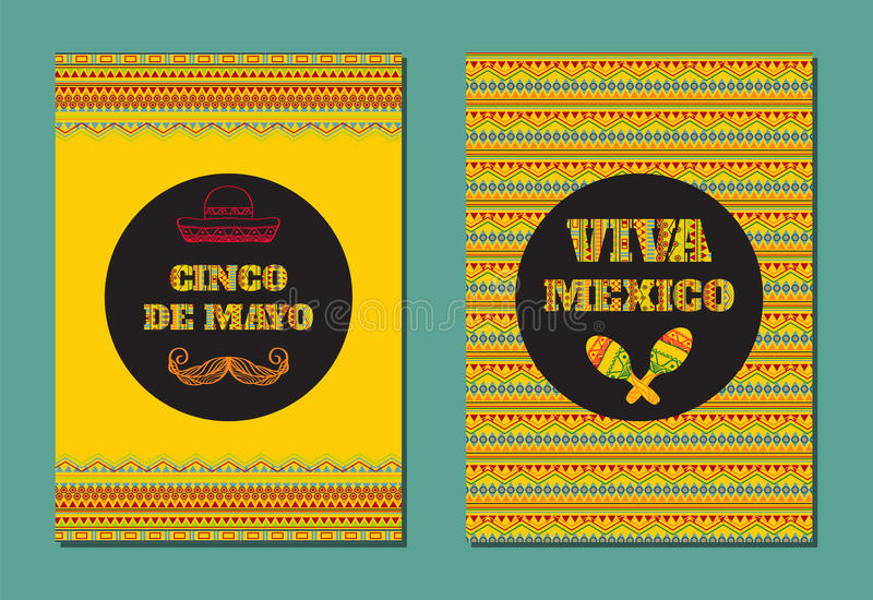 Cinco DE Mayo Viva Mexico! Vectorreeks groetkaarten, banners of affiches met Mexicaans geometrisch ornament royalty-vrije illustratie