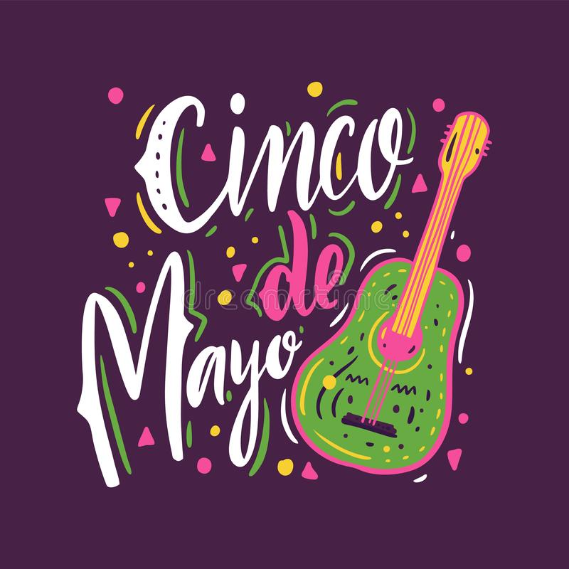Cinco De Mayo wakacje R?ka rysuj?cy wektorowy literowanie Odizolowywaj?cy na purpurowym tle ilustracji